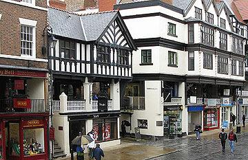 Shopping Street in Chester with Row